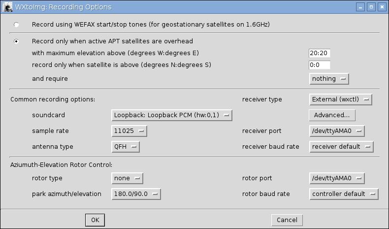 wxtoimg recording configuration